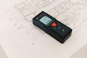 Floor plan and digital laser tape measure